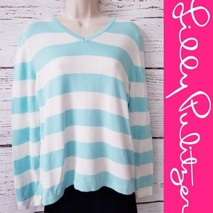 Lilly Pulitzer Blue & White Stripe Pullover